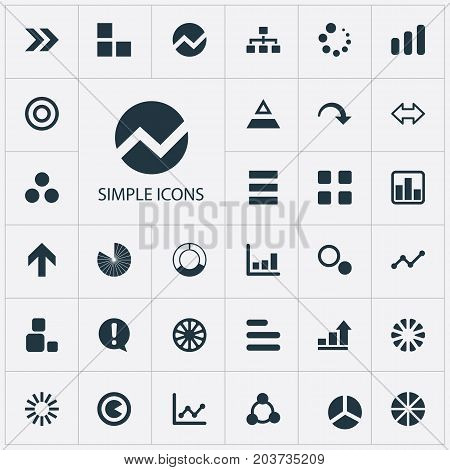 Elements Target, Line Chart, Pie Bar And Other Synonyms Help, Presentation And Process.  Vector Illustration Set Of Simple Chart Icons.