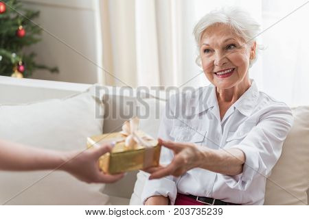 Thank you. Cheerful gray-haired old woman is accepting Christmas gift while sitting on cozy couch and expressing thankfulness. Portrait