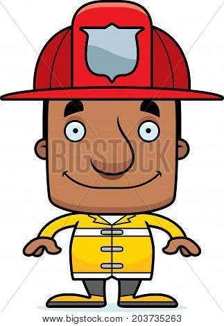 Cartoon Smiling Firefighter Man