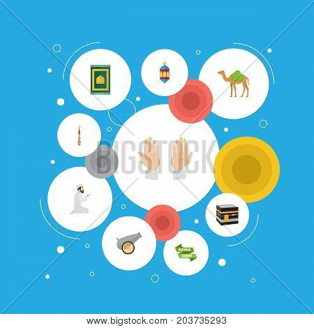 Flat Icons Praying Man, Mosque, Artillery And Other Vector Elements