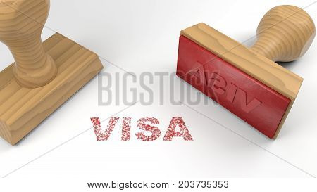 Two rubber stamps with the word visa and a stamp on white immigration concept 3D illustration