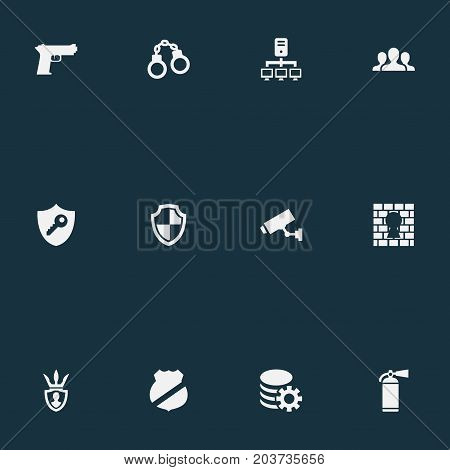 Elements Protector, Datacenter, Penitentiary And Other Synonyms Guard, Safety And Team.  Vector Illustration Set Of Simple Protection Icons.