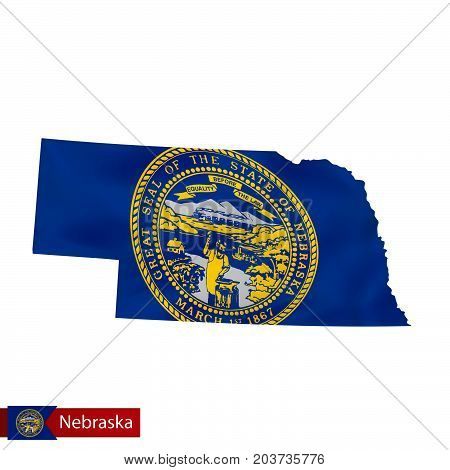 Nebraska State Map With Waving Flag Of Us State.