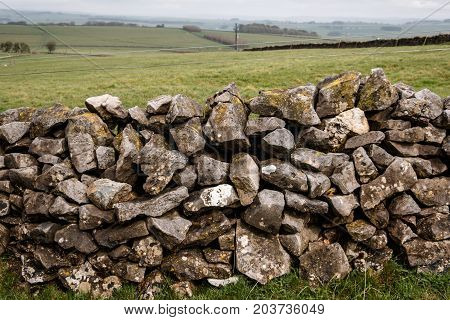 A Traditional Dry Stone Wall In Derbyshire In The Uk
