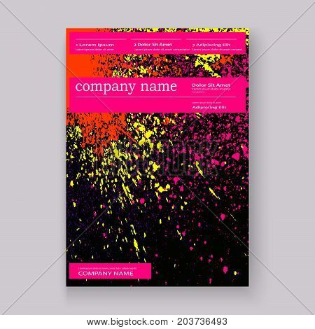 Neon Colorful Explosion Paint Splatter Artistic Covers Design. Decorative Bright Texture Splash Spra