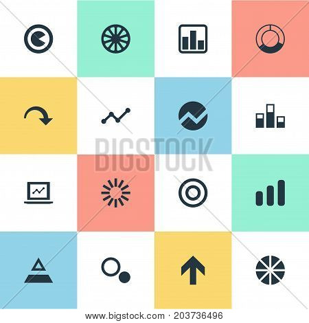 Elements Piece, Target, Triangle And Other Synonyms Round, Circle And Circular.  Vector Illustration Set Of Simple Diagram Icons.