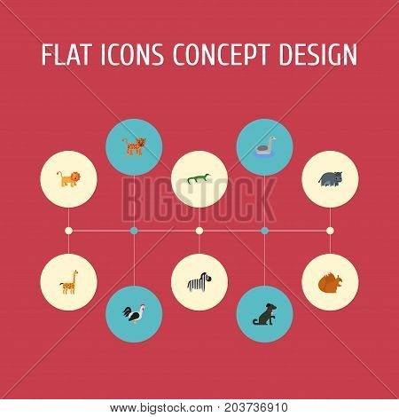 Flat Icons Wildcat, Waterbird, Camelopard And Other Vector Elements