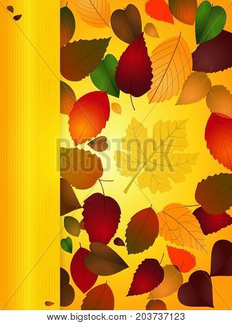 Autumn Portrait Background with Copy Space Vertical Blank Panel and Leafs