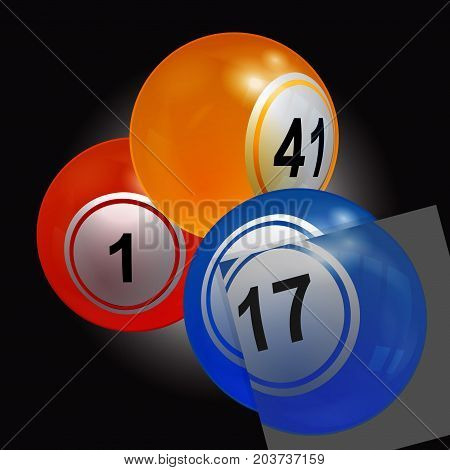 3D Illustration of Trio of Bingo Lottery Balls with a Puzzle Panel Over Black Background