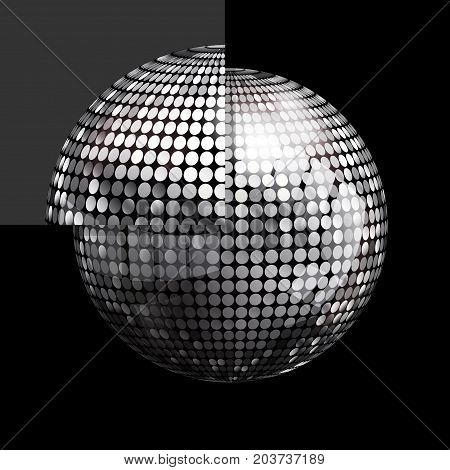 3D Illustration of Silver Disco Ball Over Black Background with a Single Panel Puzzle
