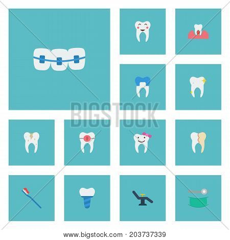 Flat Icons Children Dentist, Brace, Enamel And Other Vector Elements