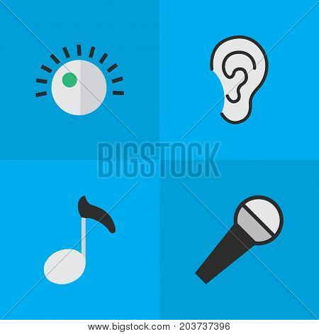 Elements Listen, Regulator, Mike And Other Synonyms Note, Amplifier And Regulator.  Vector Illustration Set Of Simple Melody Icons.