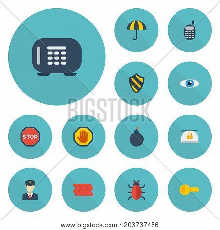 Flat Icons Road Sign, Lock, Parasol And Other Vector Elements