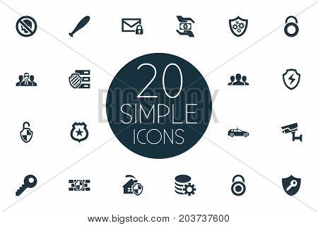 Elements Key, Gear, Stick And Other Synonyms Secure, Protection And Man.  Vector Illustration Set Of Simple Security Icons.