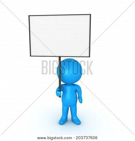 Light blue 3D Character holding a blank sign. Isolated on white.