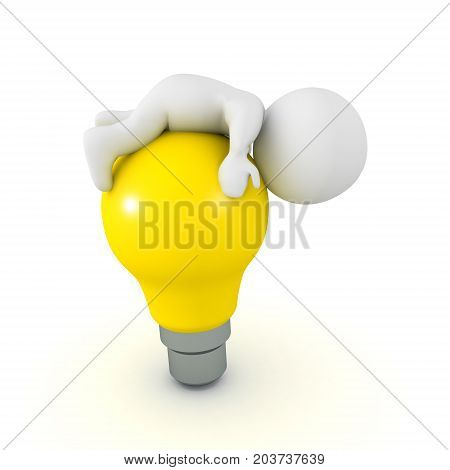 3D Character lying on top of bright yellow light bulb. Image depicting the concept of creative block.