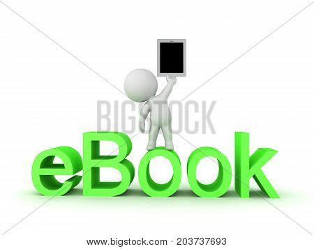 3D Character standing on eBook text and holding up a tablet. Isolated on white.