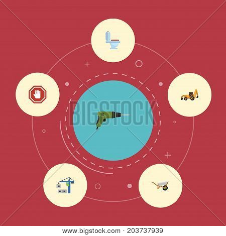 Flat Icons Hoisting Machine, Restroom, Electric Screwdriver And Other Vector Elements