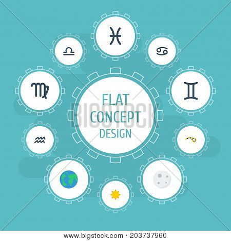 Flat Icons Horoscope, Fishes, Twins And Other Vector Elements