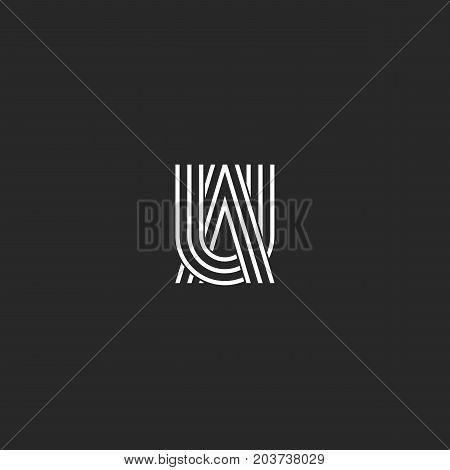 Logo Ua Letters Monogram Combination Symbols, Thin Lines Linked Two Capital Letters U And A, Au Embl