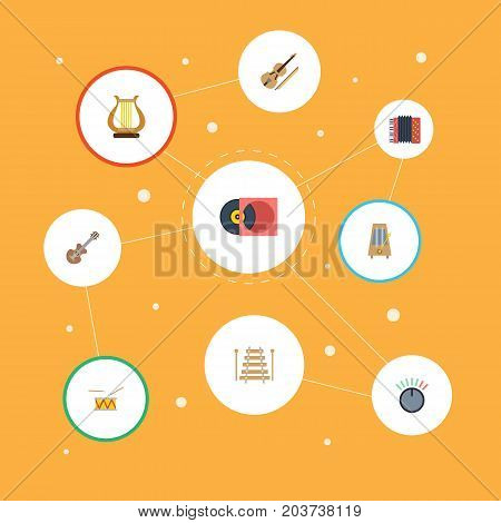 Flat Icons Rhythm Motion, Tambourine, Musical Instrument And Other Vector Elements