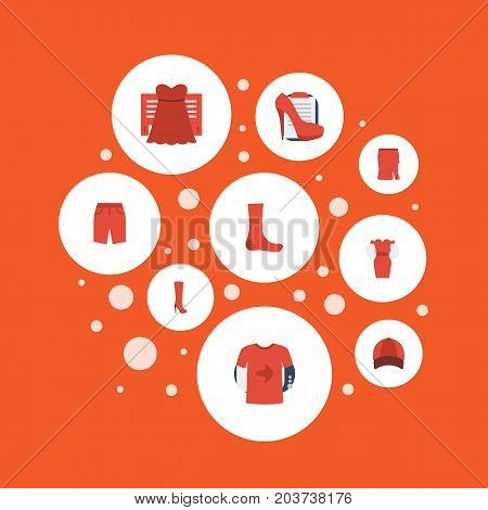 Flat Icons Hosiery, Hat, Casual And Other Vector Elements