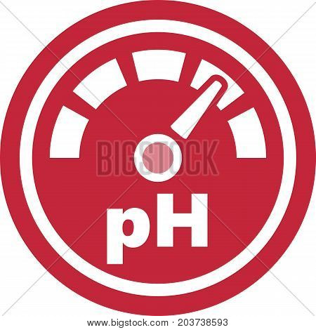 pH increase measurement red round medical icon