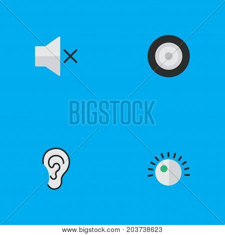 Elements Regulator, Volume, Listen And Other Synonyms Hear, Volume And Ear.  Vector Illustration Set Of Simple Melody Icons.