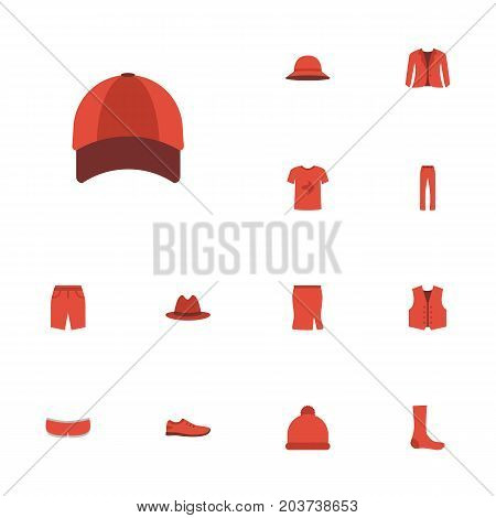 Flat Icons Casual, Coat, Hosiery And Other Vector Elements