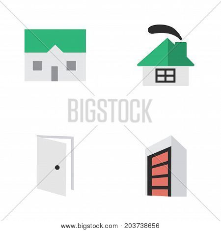 Elements Entry, House, Construction And Other Synonyms House, Home And Building.  Vector Illustration Set Of Simple Real Icons.