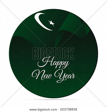 Happy New Year banner or sticker. Pakistan waving flag. Snowflakes background. Vector illustration.