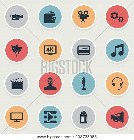 Elements Billfold, Megaphone, Action And Other Synonyms Loudspeaker, Drama And Headphone.  Vector Illustration Set Of Simple Film Icons.