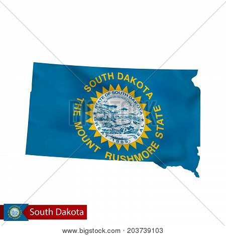 South Dakota State Map With Waving Flag Of Us State.