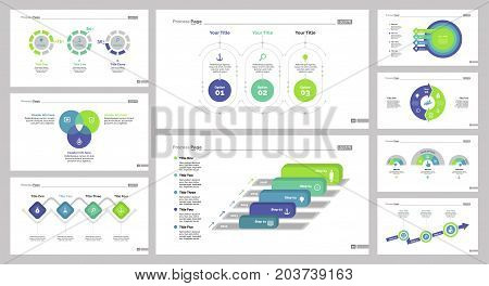 Infographic design set can be used for workflow layout, diagram, annual report, presentation, web design. Business and marketing concept with process, Venn and doughnut charts.