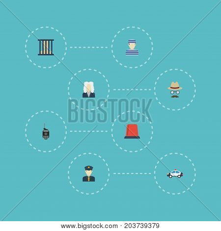 Flat Icons Policeman, Inspector, Signal And Other Vector Elements
