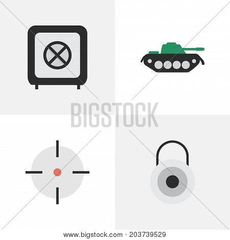 Elements Lock, Military, Vault And Other Synonyms Lock, Save And Protected.  Vector Illustration Set Of Simple Criminal Icons.