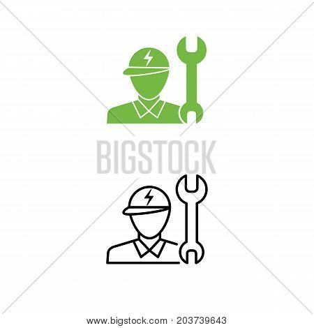 Electric Car Technician Support Icon. Technician Man And Wrench Symbol. Eco Friendly Auto Or Electri