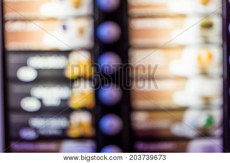 Abstract Blurred Background - Coffee Vending Machine On A Shopping Mall In Lithuania