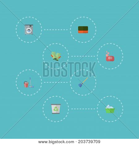 Flat Icons Besom, Wisp, Gauntlet And Other Vector Elements