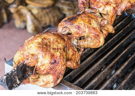 Bbq Chickens On A Spit