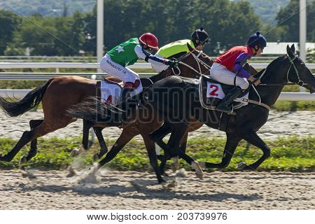 PYATIGORSK,RUSSIA - SEPTEMBER 10,2017: Horse race for the traditional prize of the Kriterium - the oldest and the largest racecourses in Russia.