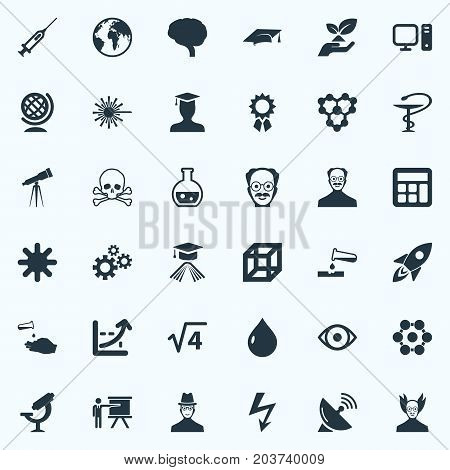 Elements Teacher, Square, Setting And Other Synonyms Atom, Reckoning And Spaceship.  Vector Illustration Set Of Simple Study Icons.