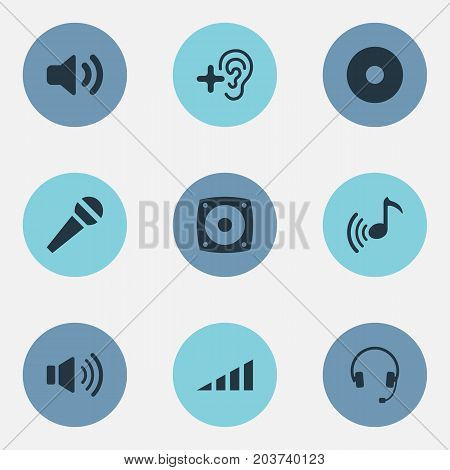Elements Song, Sound, Compact Disk And Other Synonyms Sound, Studio And Compact.  Vector Illustration Set Of Simple  Icons.