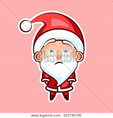 Sticker emoji emoticon, emotion, boredom, unperturbed, hopelessness, vector isolated character sweet cute Santa Claus, Father Frost on pink background for Happy New Year and Merry Christmas mobile app