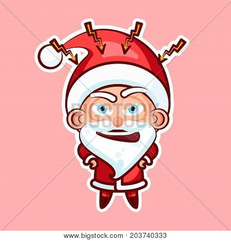Sticker emoji emoticon, emotion swear, angry, lightning, vector isolated illustration character sweet cute Santa Claus Father Frost on pink background for Happy New Year and Merry Christmas mobile app
