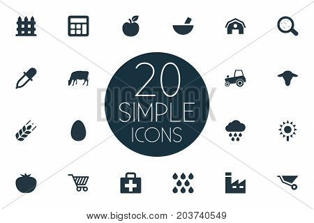 Elements Hangar, Medicament, Wooden Barrier And Other Synonyms Dropper, Magnifier And Melioration.  Vector Illustration Set Of Simple Agriculture Icons.