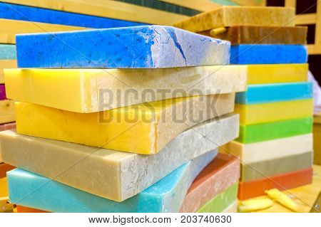 soap bars big blocks colorful detergent background