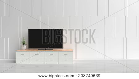 Smart tv on tv stand  in white living room decorated with wood white tv stand, tree in glass vase, white cement wall it is grid pattern and the white  floor. 3d rendering.