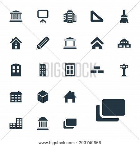 Elements Academy, Dispatcher Cabin, Museum And Other Synonyms Pencil, Pillars And Screen.  Vector Illustration Set Of Simple Construction Icons.