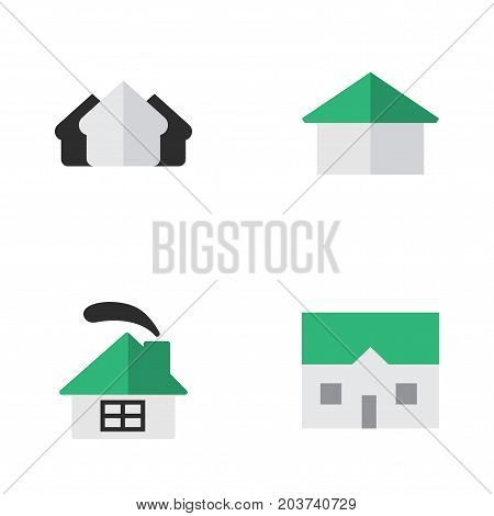 Elements Architecture, House, Property And Other Synonyms Home, House And Building.  Vector Illustration Set Of Simple Real Icons.